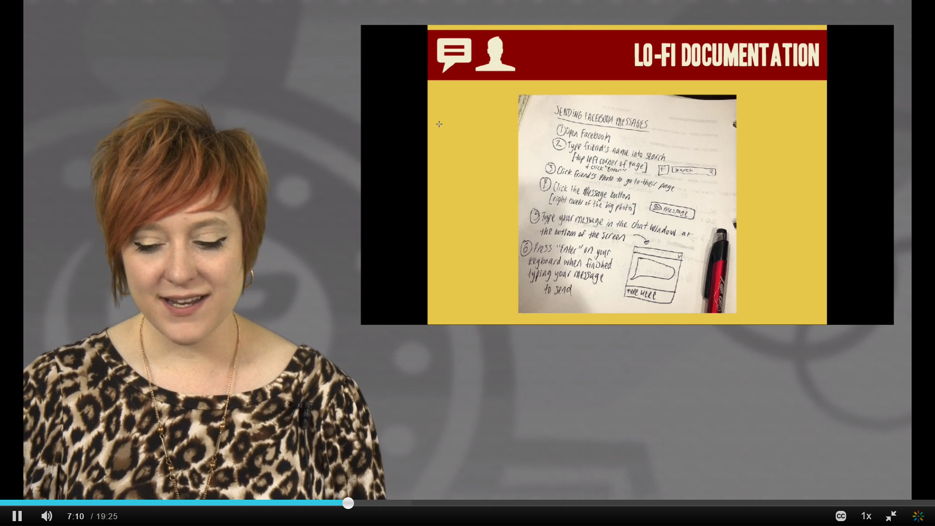 "A screenshot of Allegra, a white woman with short red hair, teaching a video lesson on writing documentation. A slide with the title ""lo-fi documentation"" is projected behind her, with a picture of sketched-out instructions on how to send a Facebook message"