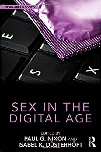 The cover image of the 2018 Sex in the Digital Age edited collection, which shows a condom wrapper atop a keyboard