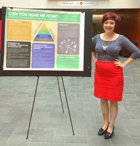 """Allegra, a short white woman with a red pixie haircut, stands in front of her award-winning SIGDOC 2017 research poster, """"Can You Hear Me Now?:  Revaluing Listening's Role in User Research Practice"""""""