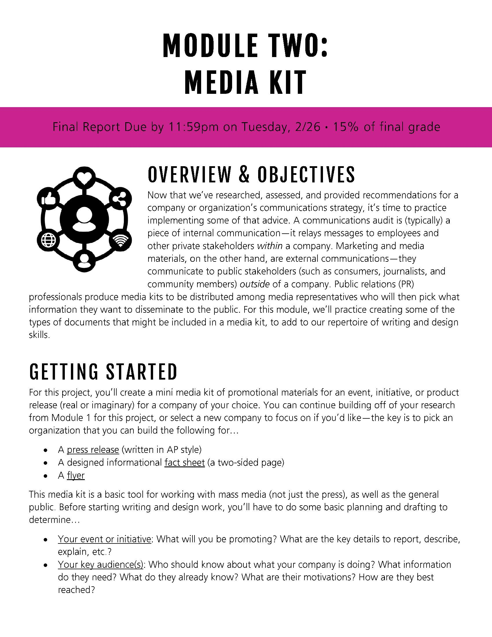 """The first page of the """"Media Kit"""" module from ENGL 306, Introduction to Professional Writing"""